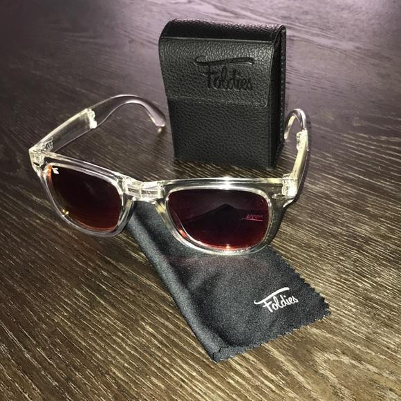 bd1b9940e foldies Accessories   Clear Frame Pink Mirror Polarized Lenses ...
